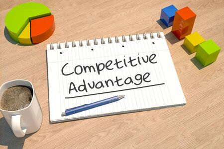 Competitive Advantage text with notebook, coffee mug, bar graph and pie chart on wooden