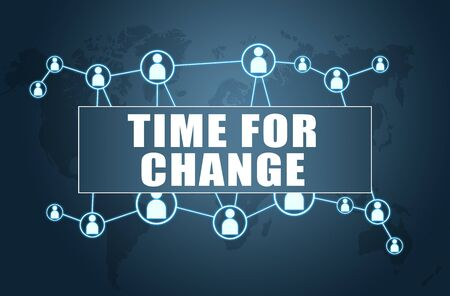Time for Change text  with world map and social icons 写真素材