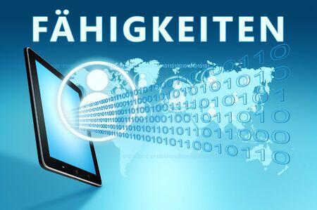 Faehigkeiten german word for skills or capability  on blue digital world map 写真素材