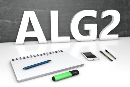 ALG2 - Arbeitslosengeld 2 - german word for unemployment benefit or dole money - text concept with chalkboard, notebook, pens and mobile phone. 3D render illustration. 写真素材