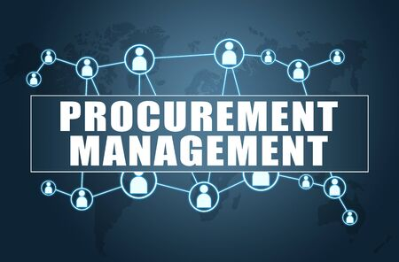 Procurement Management - text concept on blue background with world map and social icons.