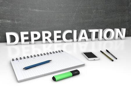 Depreciation text concept with chalkboard, notebook, pens and mobile phone.