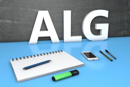 ALG - Arbeitslosengeld - german word for unemployment benefit or dole money - text concept with chalkboard, notebook, pens and mobile phone. 3D render illustration.