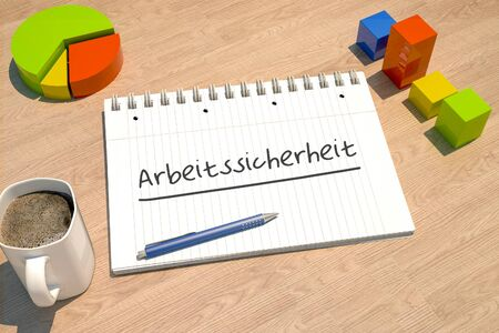 Arbeitssicherheit german word for job safety with notebook, coffee mug, bar graph and pie chart on wooden 写真素材