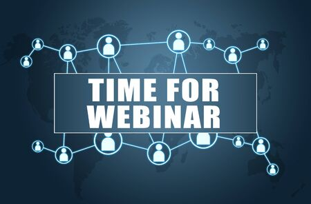 Time for Webinar text concept on blue with world map and social icons.