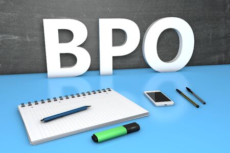 BPO, Business Process Outsourcing with chalkboard, notebook, pens and mobile phone.