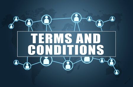 Terms and Conditions on blue with world map and social icons.