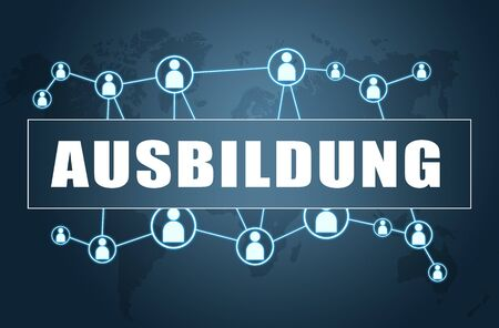 Ausbildung german word for education or training with world map and social icons. 写真素材