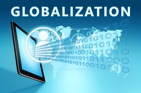 Globalization text with social icons and tablet computer on blue digital world map