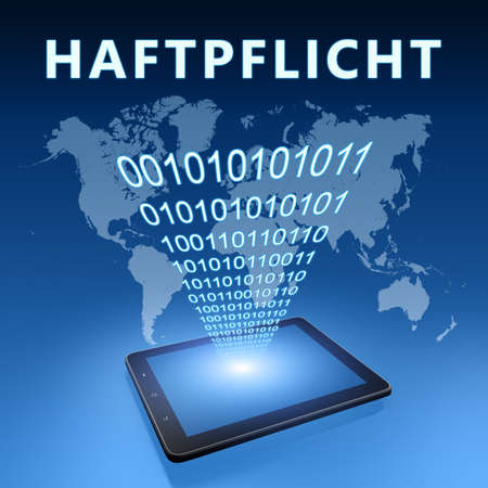 Liability - german word for civil liability - text concept with tablet computer on blue wolrd map background - 3d render illustration.