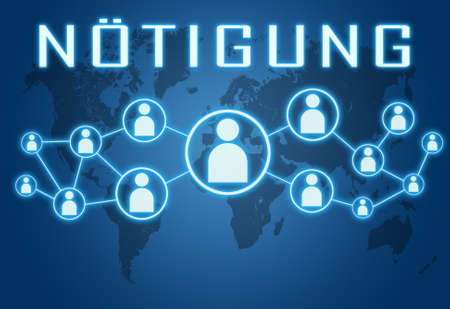 Noetigung - german word for coercion or duress - text concept on blue background with world map and social icons.