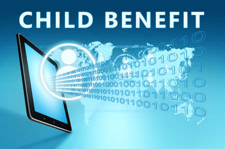 Child Benefit - text concept with tablet computer on blue wolrd map background - 3d render illustration.