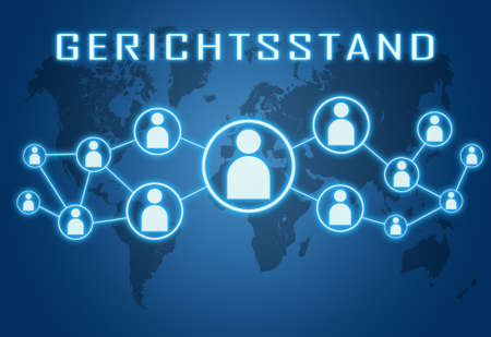 Place of jurisdiction - german word for place of jurisdiction - text concept on blue background with world map and social icons.