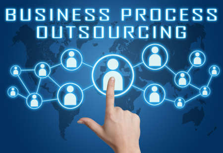 Business Process Outsourcing - text concept with hand pressing social icons on blue world map background.