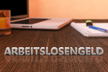 ALG - Arbeitslosengeld - german word for unemployment benefit or dole money - letters on wooden desk with laptop computer and a notebook. 3d render illustration.