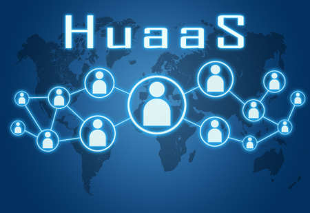 HuaaS - Human as a Service - text concept on blue background with world map and social icons. Standard-Bild