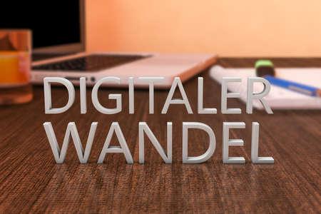 Digitaler Wandel - german word for digital change or digital business transformation - letters on wooden desk with laptop computer and a notebook. 3d render illustration.