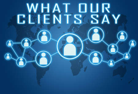 What our clients say - text concept on blue background with world map and social icons. Standard-Bild