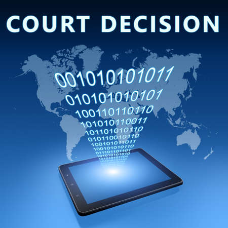 Court Decision - text concept with tablet computer on blue wolrd map background - 3d render illustration.
