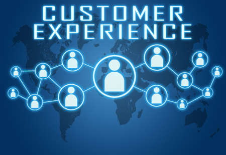 Customer Experience - text concept on blue background with world map and social icons.