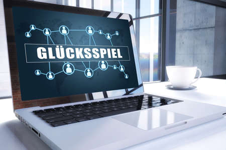 Glücksspiel - german word for gambling or game of chance. Text on modern laptop screen in office environment. 3D render illustration business text concept.