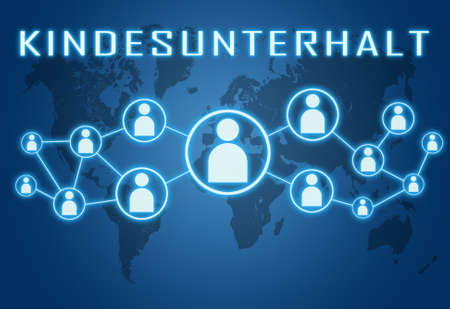 Kindunterhalt - german word for child support or dependents - text concept on blue background with world map and social icons.