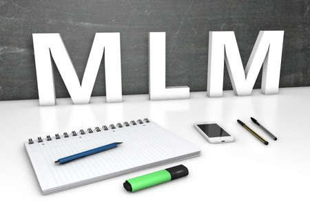 MLM - Multi Level Marketing - text concept with chalkboard, notebook, pens and mobile phone. 3D render illustration.
