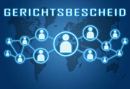 Court decision - german word for court order or court decision - text concept on blue background with world map and social icons. Standard-Bild