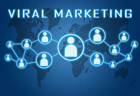 Viral Marketing - text concept on blue background with world map and social icons.