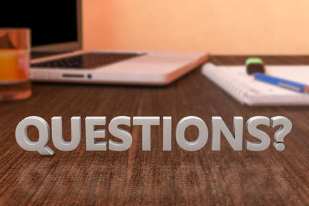 Questions - letters on wooden desk with laptop computer and a notebook. 3d render illustration.