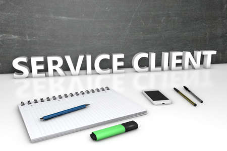 Service Client - text concept with chalkboard, notebook, pens and mobile phone. 3D render illustration.