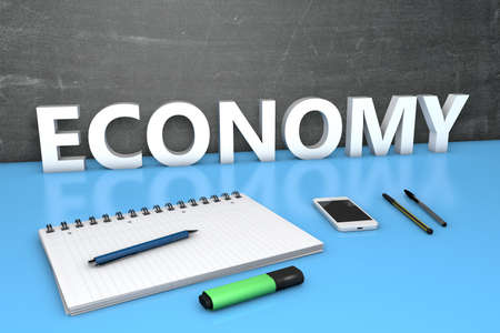 Economy - text concept with chalkboard, notebook, pens and mobile phone. 3D render illustration.