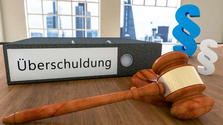 Overindebtedness - german word for over indebtedness - Text on file folder with court hammer and paragraph symbols on a desk - 3D render illustration.
