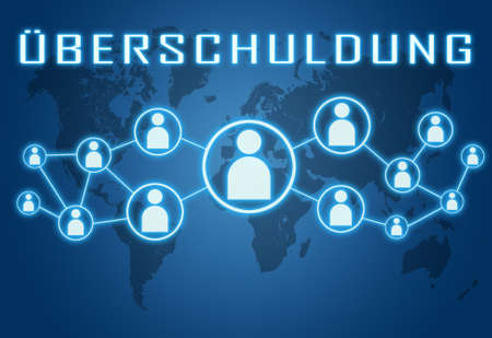 Ueberschuldung - german word for over indebtedness - text concept on blue background with world map and social icons. Standard-Bild