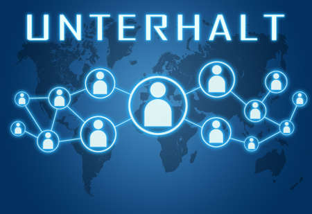 Unterhalt - german word for upkeep or alimony - text concept on blue background with world map and social icons.
