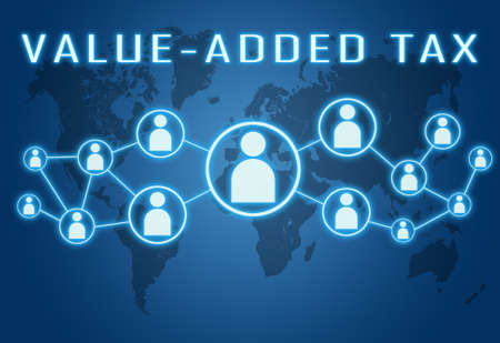 Value-Added Tax - text concept on blue background with world map and social icons. Standard-Bild
