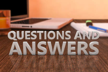 Questions and Answers - letters on wooden desk with laptop computer and a notebook. 3d render illustration.