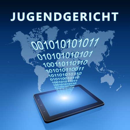 Jugendgericht - german word for juvenile court - text concept with tablet computer on blue wolrd map background - 3d render illustration. Standard-Bild