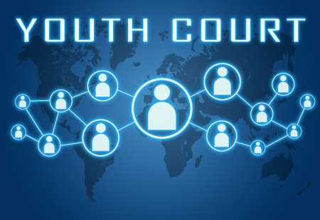 Youth Court - text concept on blue background with world map and social icons.