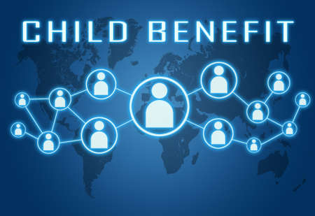 Child Benefit - text concept on blue background with world map and social icons.
