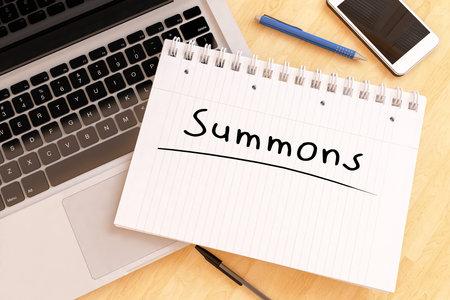 Summons - handwritten text in a notebook on a desk - 3d render illustration.
