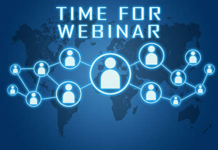 Time for Webinar - text concept on blue background with world map and social icons. Standard-Bild