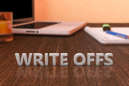 Write offs - letters on wooden desk with laptop computer and a notebook. 3d render illustration. Standard-Bild