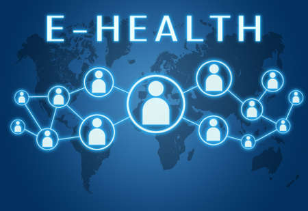 E-Health - text concept on blue background with world map and social icons. Standard-Bild