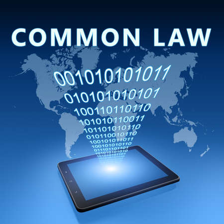 Common Law - text concept with tablet computer on blue wolrd map background - 3d render illustration.