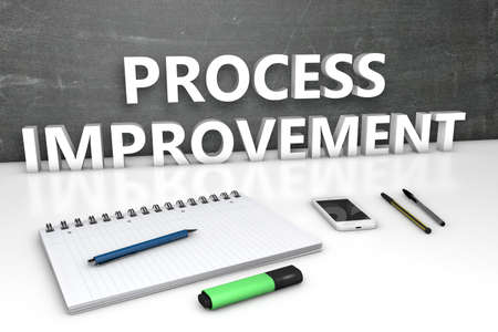 Process Improvement - text concept with chalkboard, notebook, pens and mobile phone. 3D render illustration. Standard-Bild