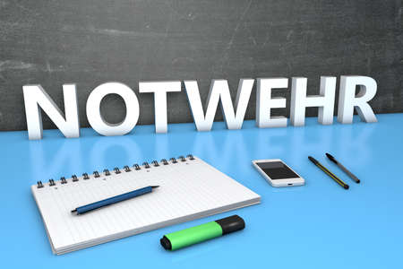 Selfwehr - german word for self defense - text concept with chalkboard, notebook, pens and mobile phone. 3D render illustration.