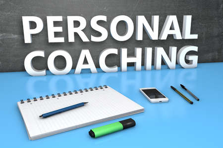 Personal Coaching - text concept with chalkboard, notebook, pens and mobile phone. 3D render illustration.