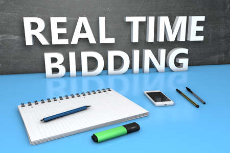 RTB - Real Time Bidding - text concept with chalkboard, notebook, pens and mobile phone. 3D render illustration.