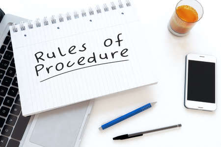 Rules of Procedure - handwritten text in a notebook on a desk - 3d render illustration.